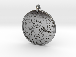 Honey Bee Animal Totem Pendant in Polished Silver