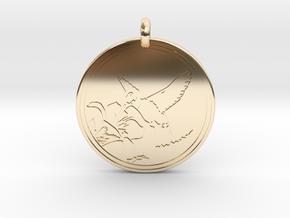 Humming bird Animal Totem Pendant in 14K Yellow Gold