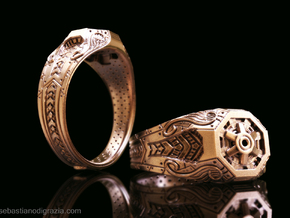 Steampunk Octagonal Ring in Natural Bronze