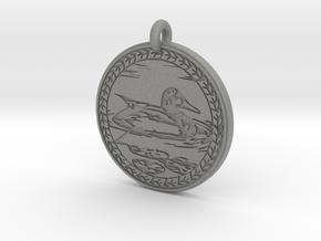 Mallard Duck Animal Totem Pendant in Gray PA12