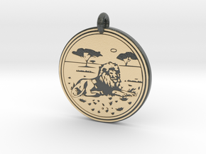 Lion Animal Totem Pendant in Glossy Full Color Sandstone