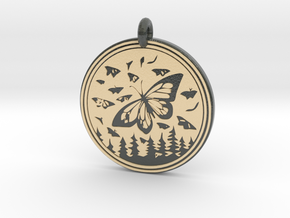 Monarch Butterfly Animal Totem Pendant in Glossy Full Color Sandstone