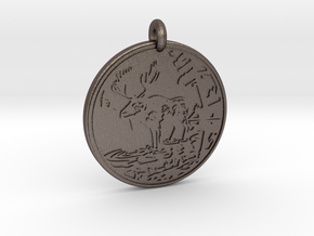 Moose Animal Totem Pendant in Polished Bronzed-Silver Steel