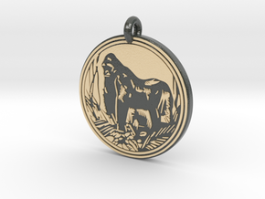 Mountain Gorilla Animal Totem Pendant in Glossy Full Color Sandstone