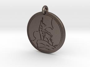 Pronghorn Antelope Animal Totem Pendant in Polished Bronzed-Silver Steel