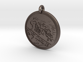 North american Porcupine Animal Totem Pendant in Polished Bronzed-Silver Steel