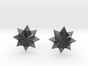 Starburst Stud Earrings in Polished Silver