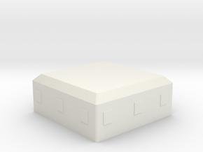Concrete Bunker/Pillbox in White Natural Versatile Plastic: 1:64 - S