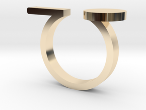 Minimal Line and Circle Ring in 14k Gold Plated Brass: 4.5 / 47.75