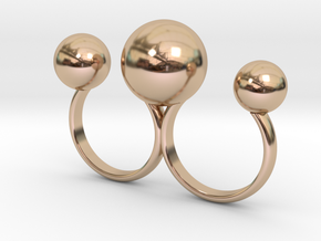 Double Ring 3 Balls in 14k Rose Gold Plated Brass: 6 / 51.5
