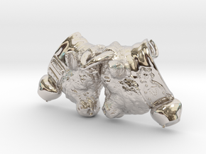 Swiss cow fighting #B - 30mm high in Rhodium Plated Brass