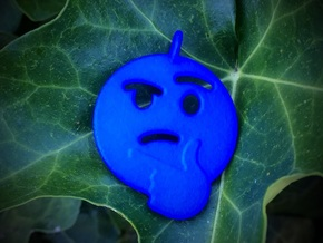 Thinking Emoji Pendant in Blue Processed Versatile Plastic