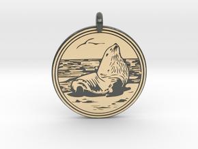 Sea Lion Animal Totem Pendant in Glossy Full Color Sandstone