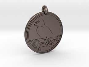 Puffin Animal Totem Pendant in Polished Bronzed-Silver Steel