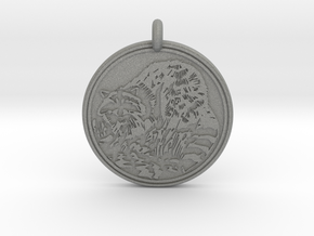 Raccoon Animal Totem Pendant in Gray PA12
