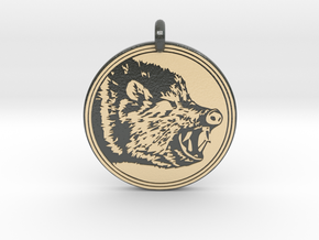 Javelina Animal Totem Pendant in Glossy Full Color Sandstone
