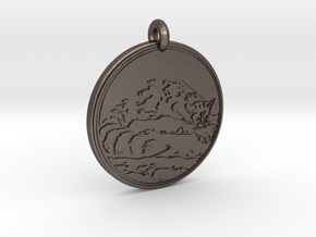 Ring tail Animal Totem Pendant in Polished Bronzed-Silver Steel