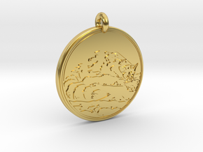 Ring tail Animal Totem Pendant in Polished Brass