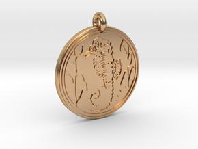 Sea Horse Animal Totem Pendant in Polished Bronze
