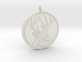 Whitetail Deer Animal Totem Pendant 2 in White Natural Versatile Plastic