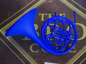 Blue French Horn Pendant in Blue Processed Versatile Plastic
