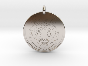 Tiger Animal Totem Pendant 2 in Rhodium Plated Brass