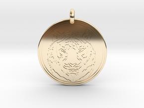 Tiger Animal Totem Pendant 2 in 14K Yellow Gold