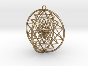 "3D Sri Yantra 4 Sided Symmetrical Steel 4+"" in Polished Gold Steel"