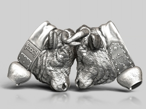 Swiss cow fighting #A - 25mm high in Polished Nickel Steel
