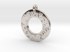 Celtic Cat Annulus Donut Pendant in Rhodium Plated Brass