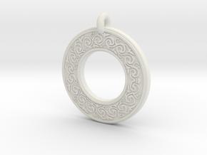 Sacred Tree Annulus Donut Pendant in White Natural Versatile Plastic