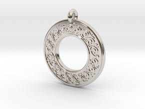 Sacred Tree Annulus Donut Pendant in Rhodium Plated Brass