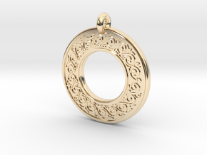 Sacred Tree Annulus Donut Pendant in 14K Yellow Gold