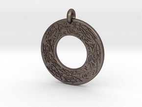 Celtic Birds Annulus Donut Pendant in Polished Bronzed-Silver Steel