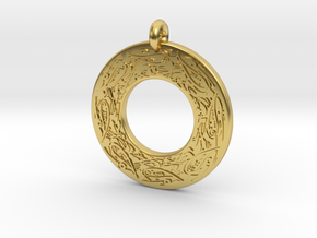 Celtic Birds Annulus Donut Pendant in Polished Brass