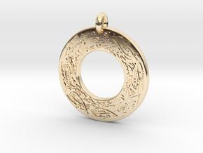 Celtic Birds Annulus Donut Pendant in 14k Gold Plated Brass