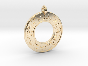 Celtic hare Rabbit Annulus Donut Pendant in 14k Gold Plated Brass