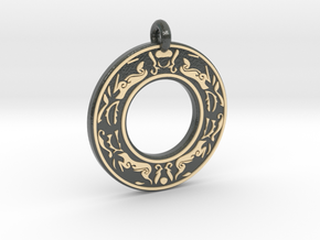 Celtic Stag Annulus Donut Pendant in Glossy Full Color Sandstone