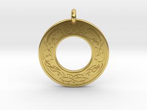 Cerridwen Celtic Goddess Annulus Donut Pendant in Polished Brass