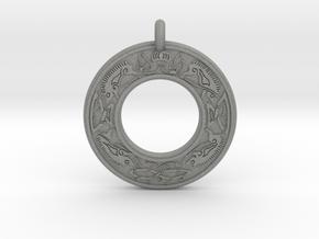 Cerridwen Celtic Goddess Annulus Donut Pendant in Gray PA12