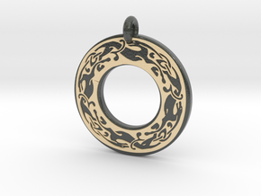 Celtic Dog Annulus Donut Pendant in Glossy Full Color Sandstone