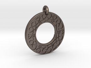 Celtic Heart Annulus Donut Pendant in Polished Bronzed-Silver Steel