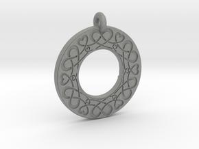 Celtic Heart Annulus Donut Pendant in Gray Professional Plastic