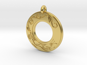 Dragon Annulus Donut Pendant in Polished Brass