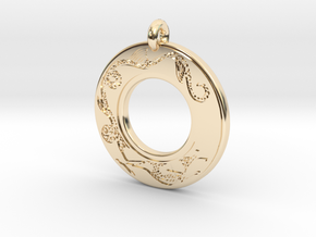 Dragon Annulus Donut Pendant in 14K Yellow Gold