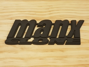 """MANX CLONE"" rear badge. in White Natural Versatile Plastic"