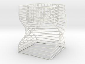 Square Tealight Holder in White Natural Versatile Plastic