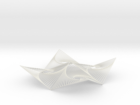 Square Spiral Line Illusion V2 Tessellated Lines in White Natural Versatile Plastic