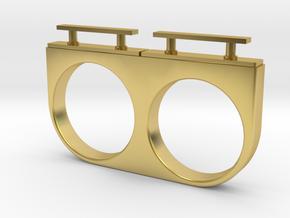 2-Drawer Ring, Modern in Polished Brass