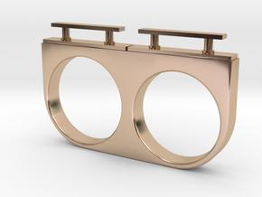 2-Drawer Ring, Modern in 14k Rose Gold Plated Brass